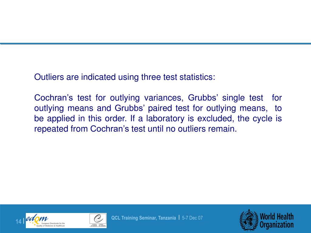 Outliers are indicated using three test statistics: