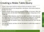 creating a make table query
