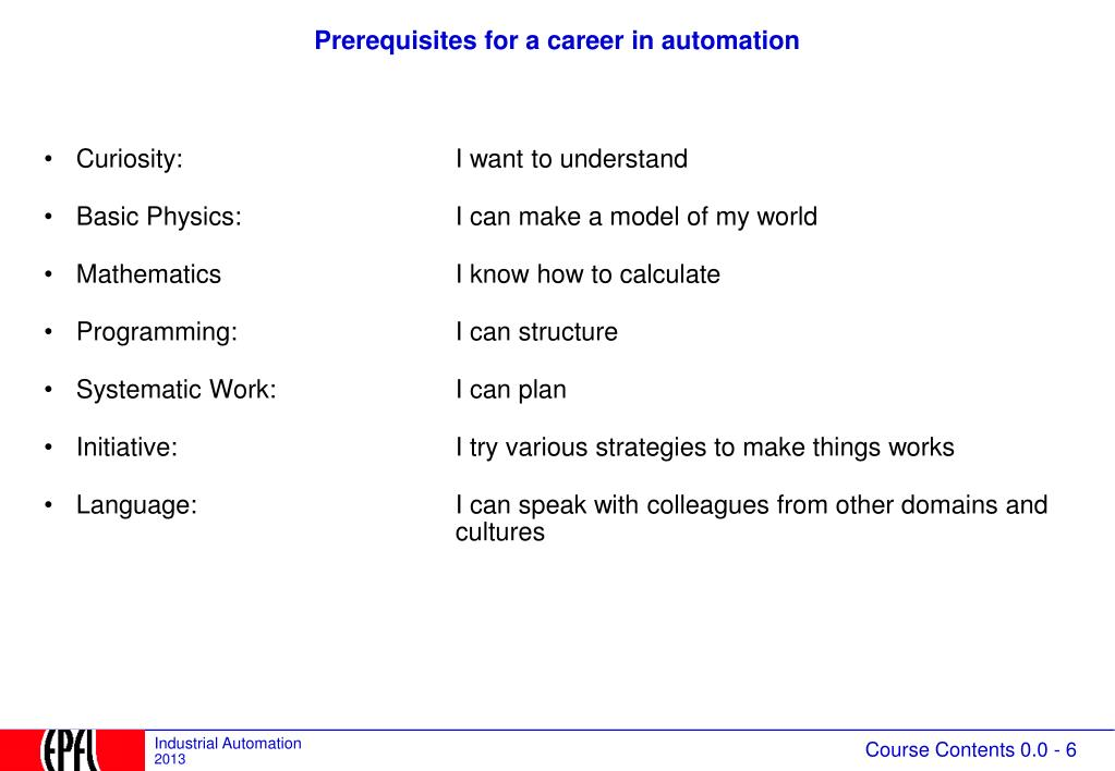 Prerequisites for a career in automation
