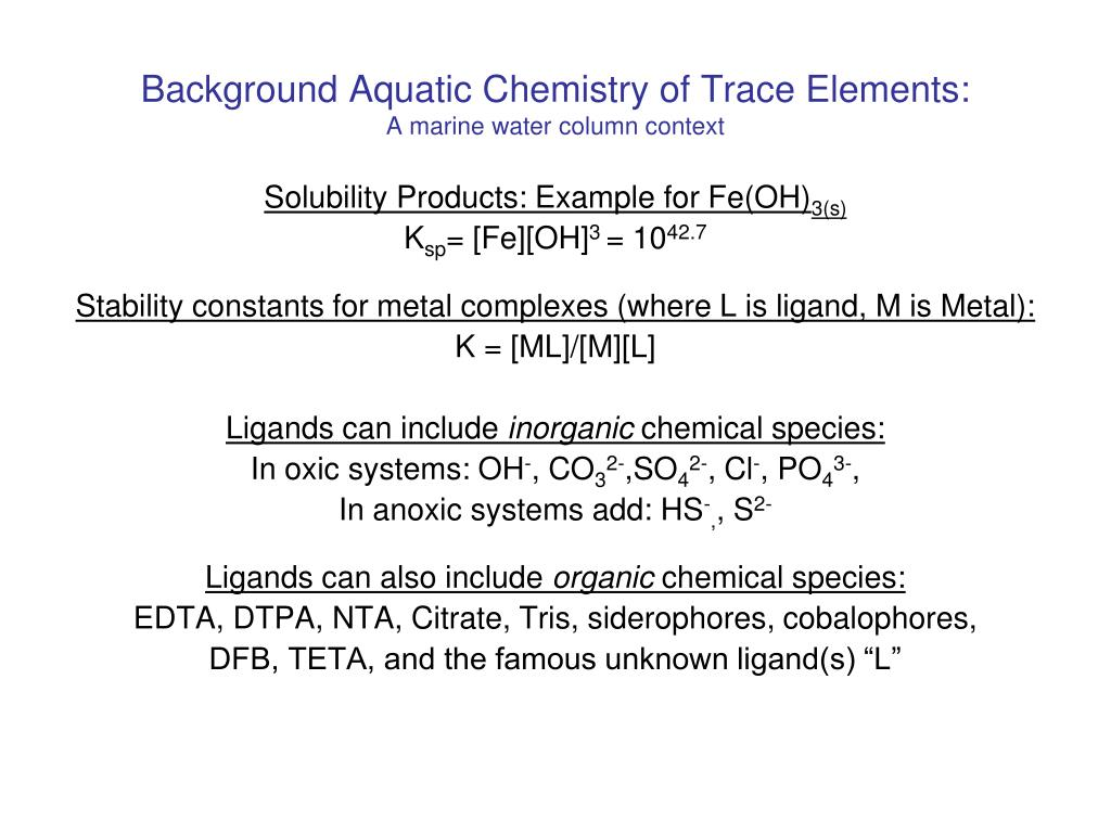 Background Aquatic Chemistry of Trace Elements: