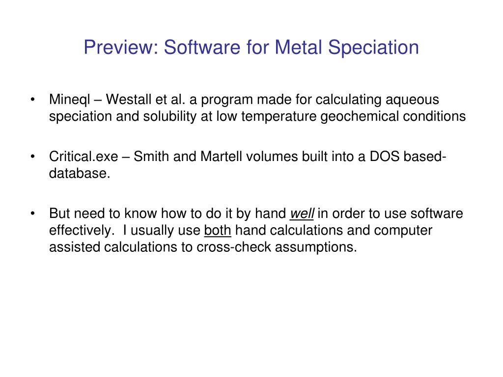 Preview: Software for Metal Speciation