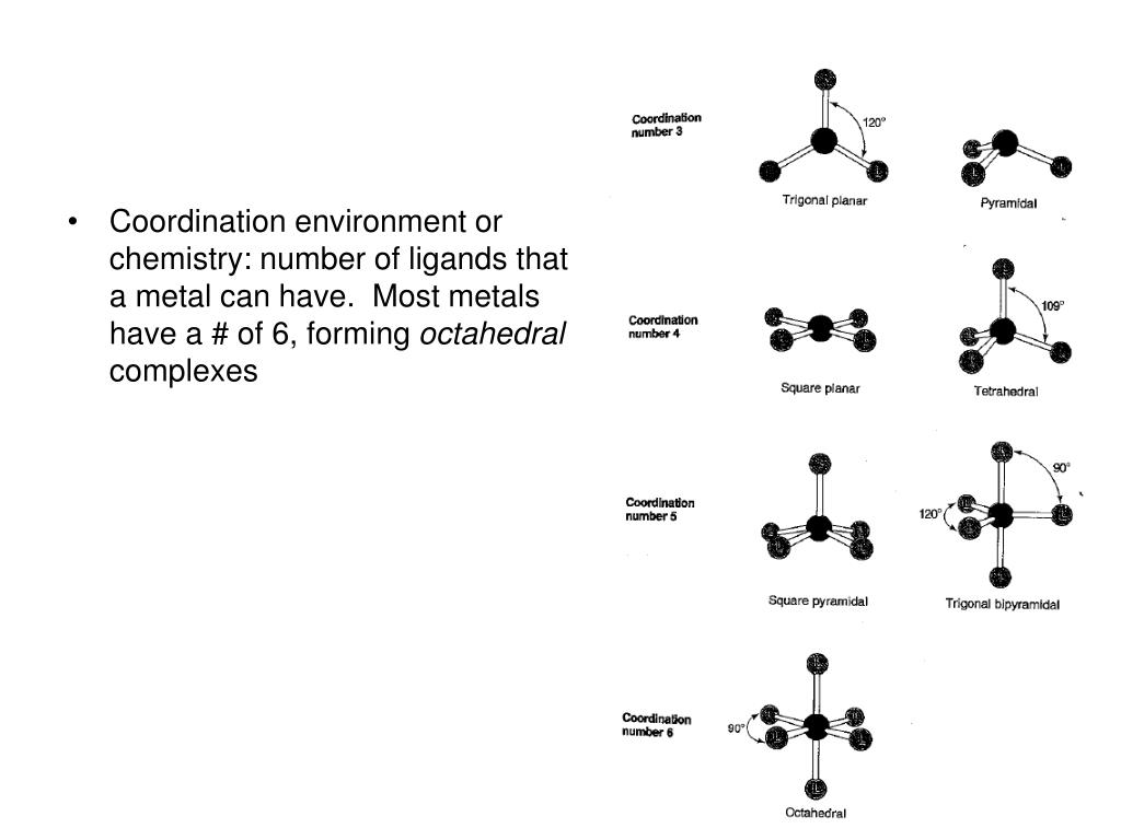 Coordination environment or chemistry: number of ligands that a metal can have.  Most metals have a # of 6, forming
