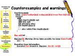 counterexamples and warnings