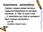 experience annotations