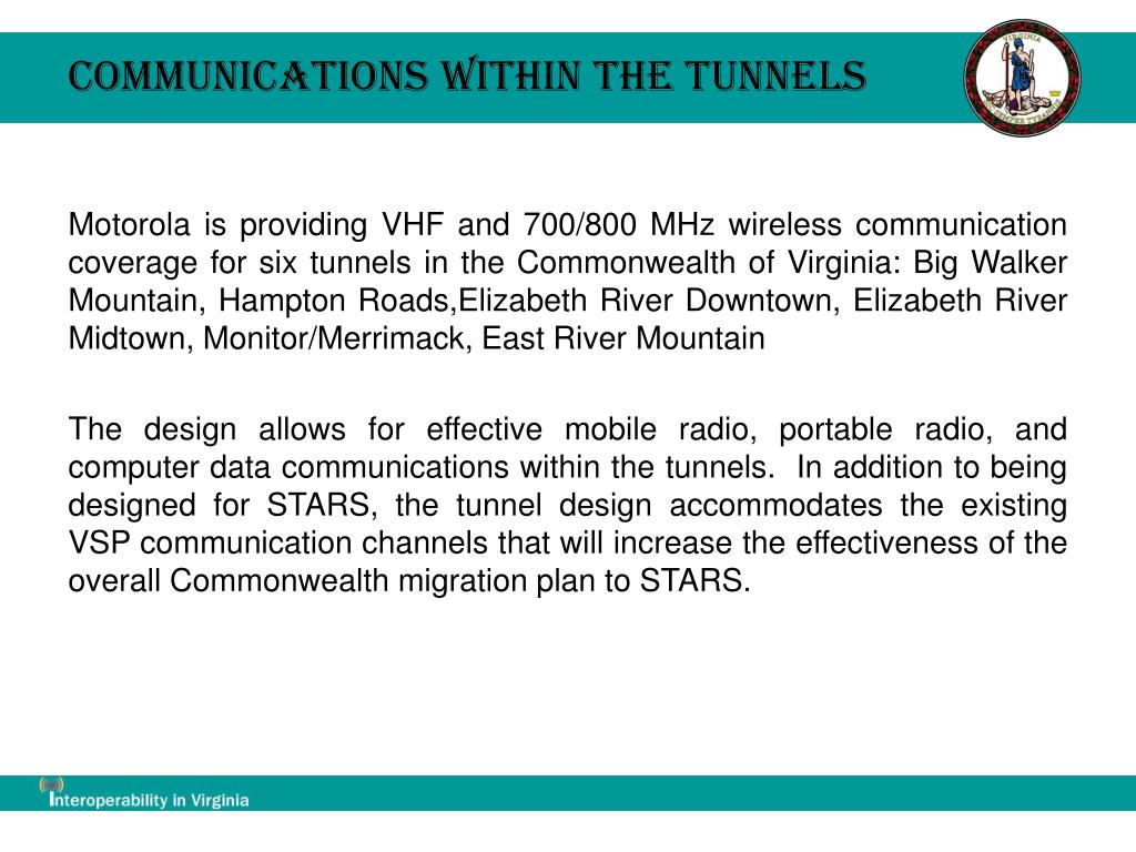 Communications within the Tunnels