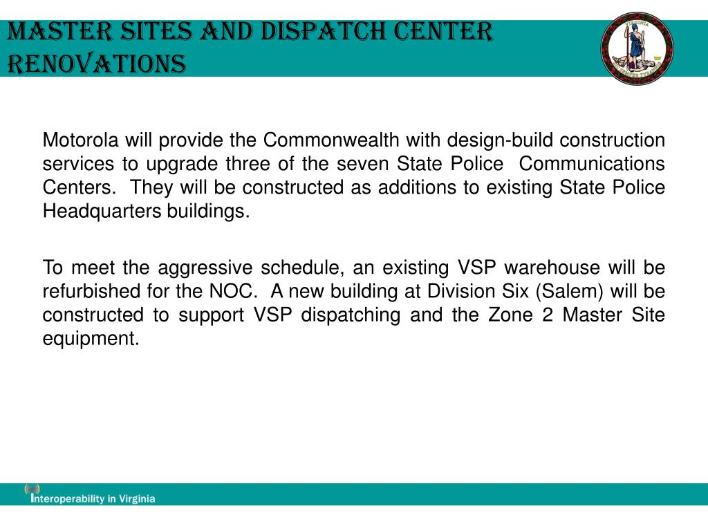 Master Sites and Dispatch Center Renovations