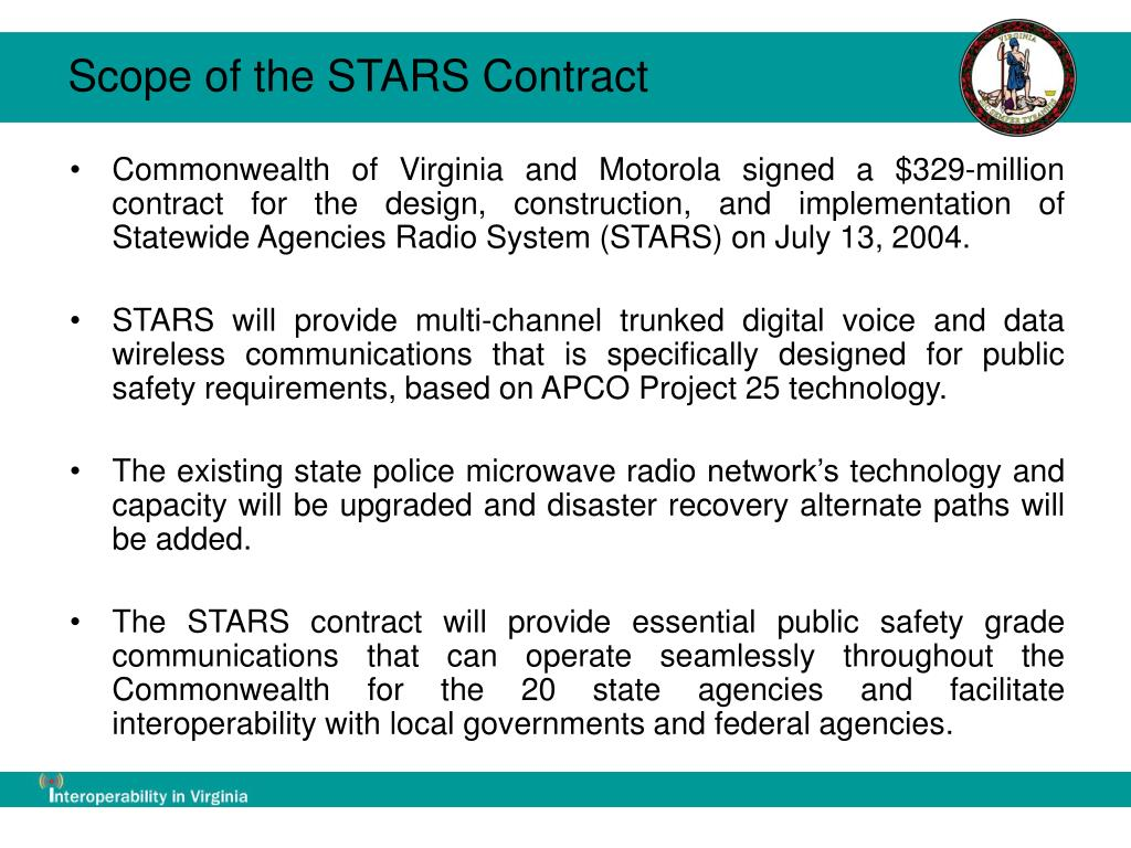 Scope of the STARS Contract