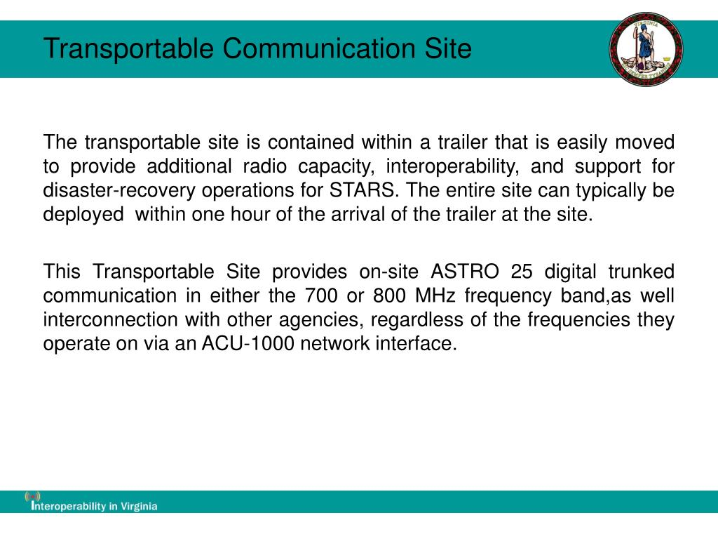 Transportable Communication Site