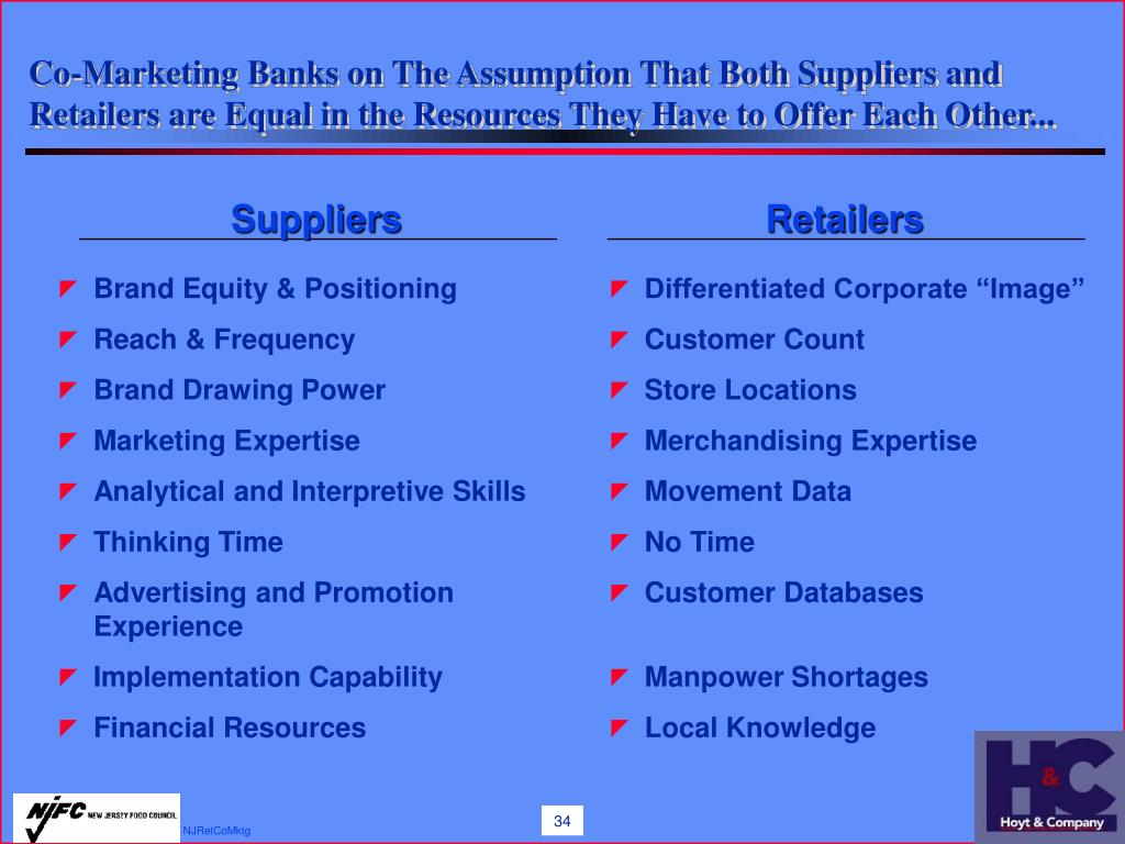 Co-Marketing Banks on The Assumption That Both Suppliers and Retailers are Equal in the Resources They Have to Offer Each Other...