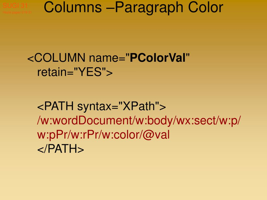 Columns –Paragraph Color