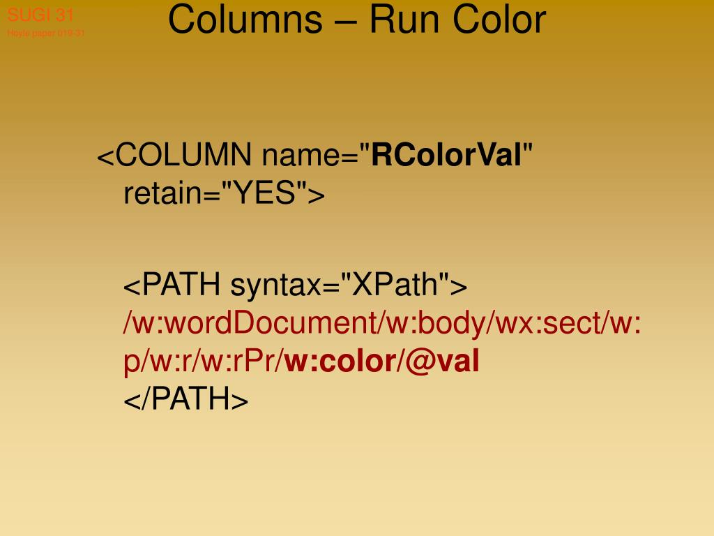 Columns – Run Color