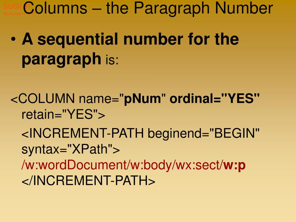 Columns – the Paragraph Number