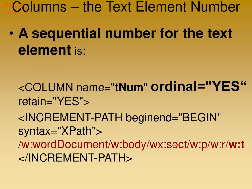 Columns – the Text Element Number