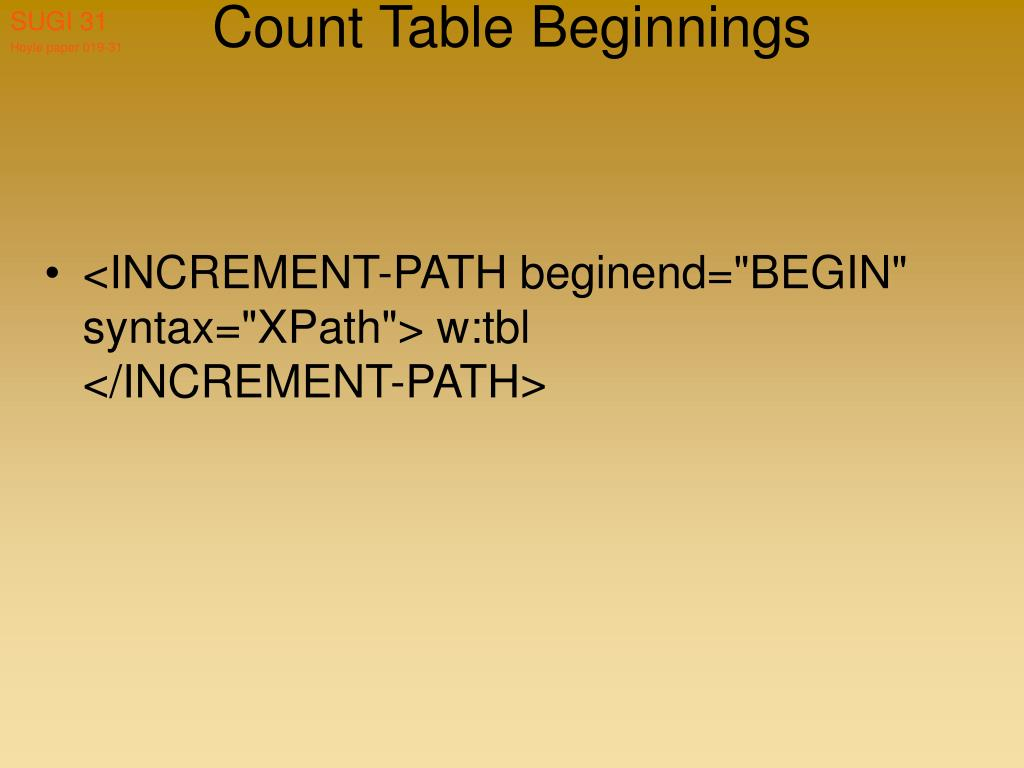 Count Table Beginnings