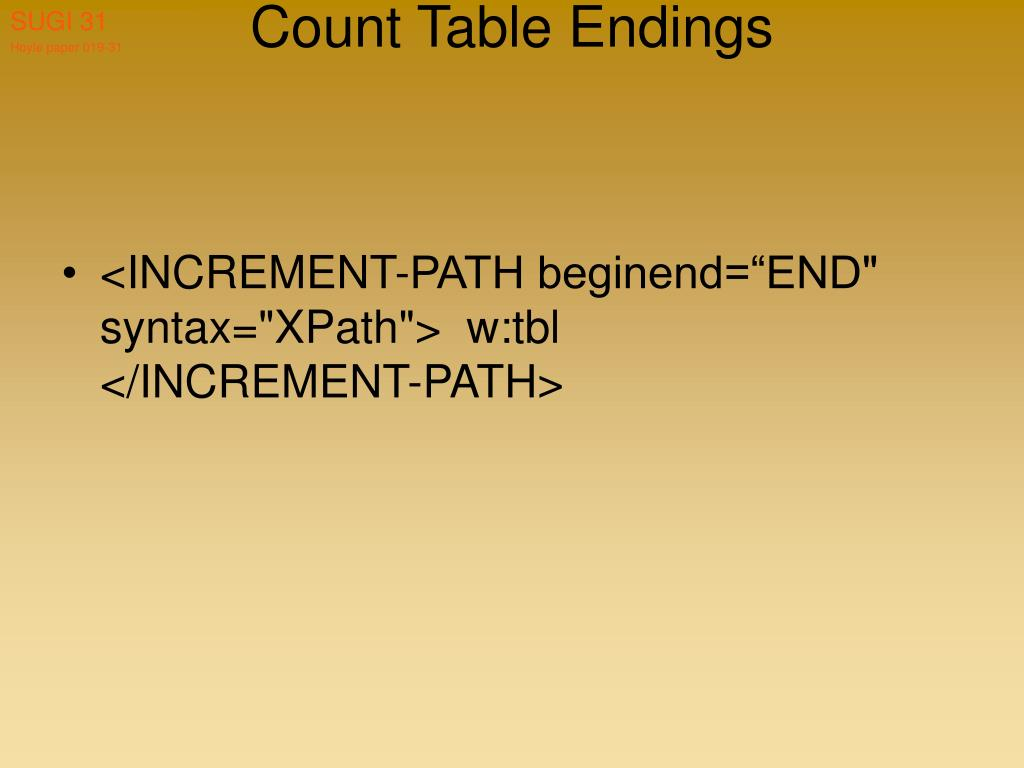 Count Table Endings