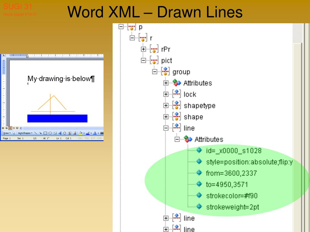 Word XML – Drawn Lines