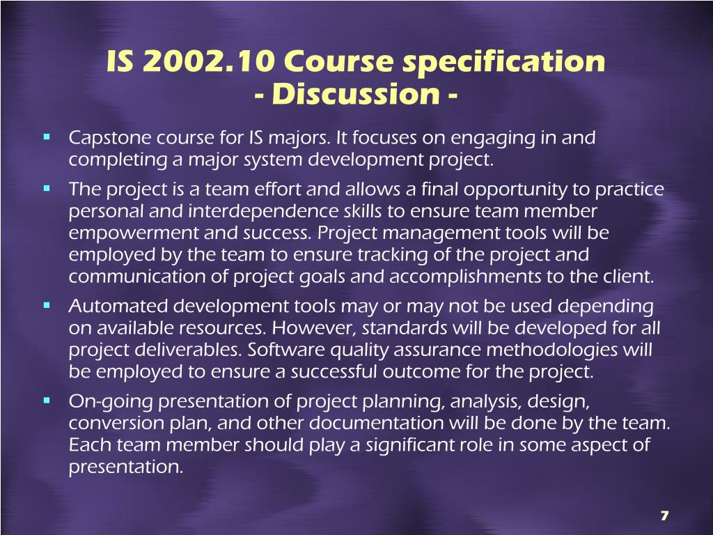 IS 2002.10 Course specification