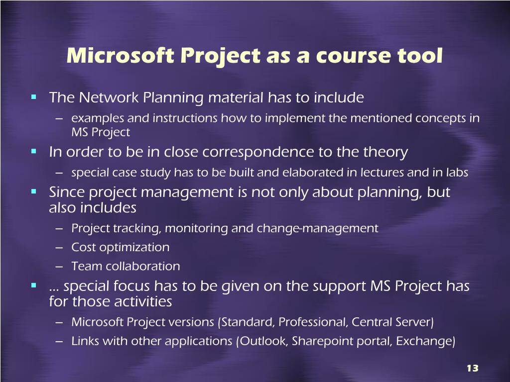 Microsoft Project as a course tool