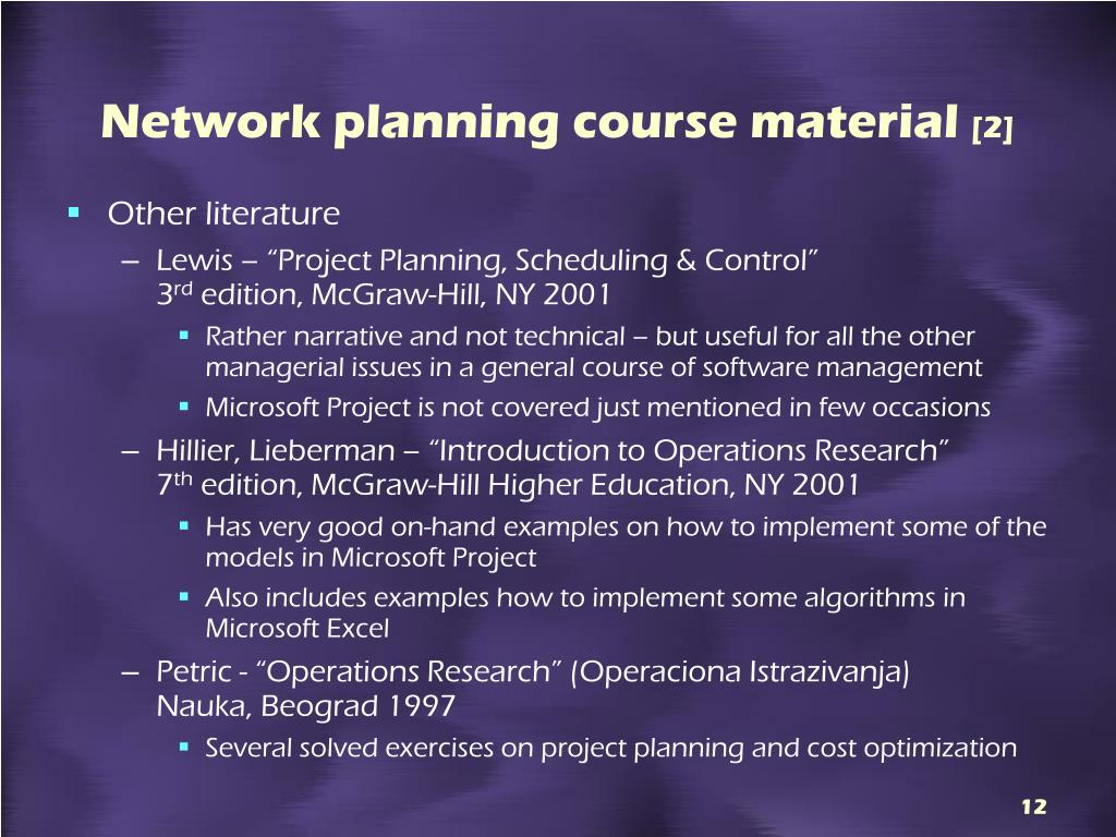 Network planning course material
