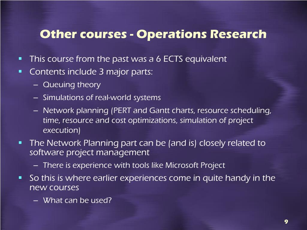 Other courses - Operations Research