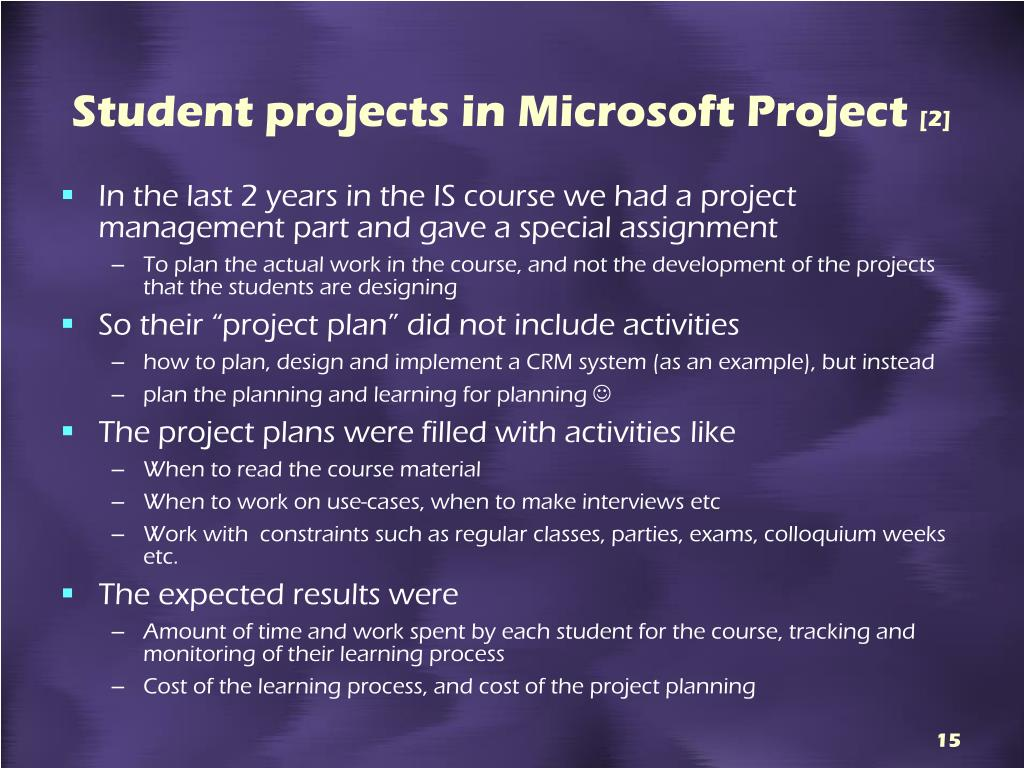 Student projects in Microsoft Project