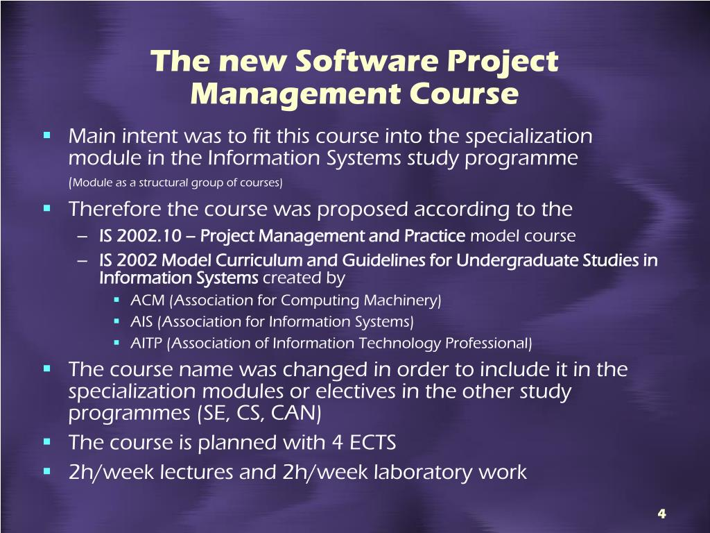 The new Software Project Management Course