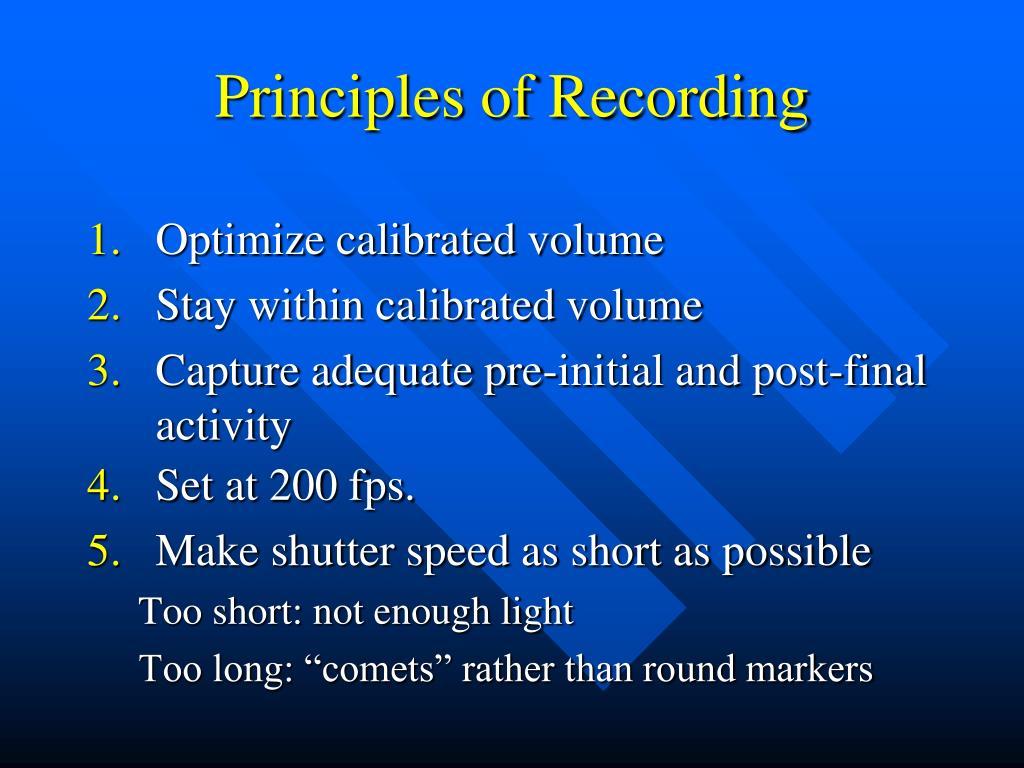 Principles of Recording