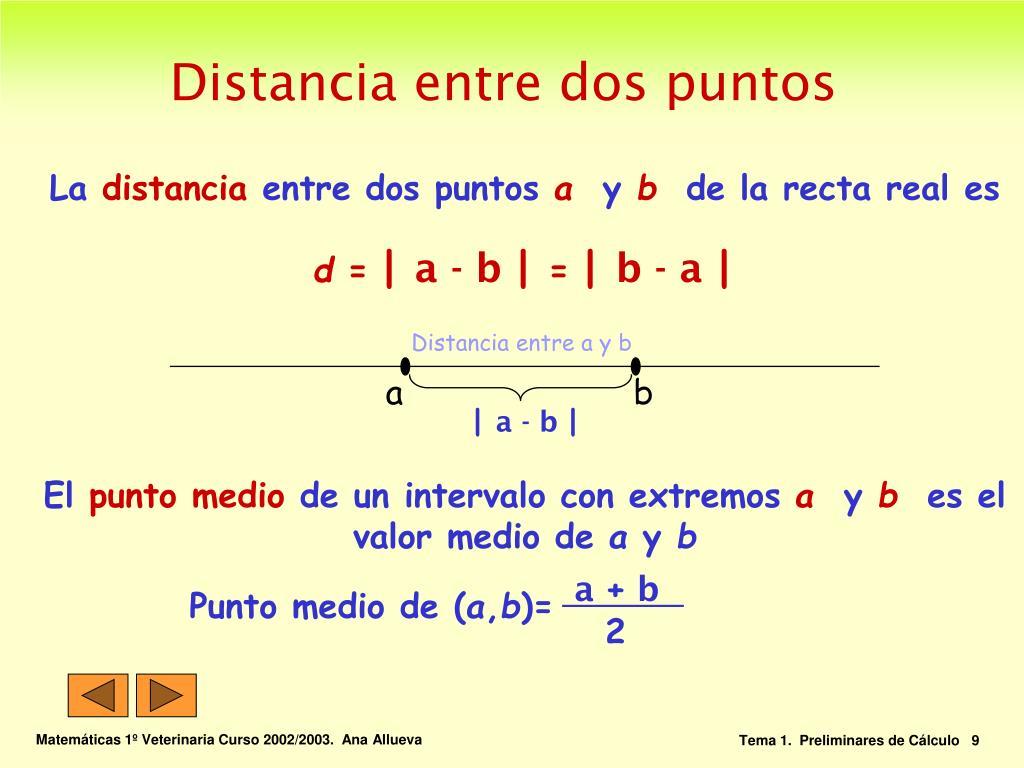 Distancia entre a y b