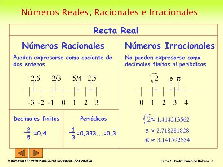 N meros reales racionales e irracionales