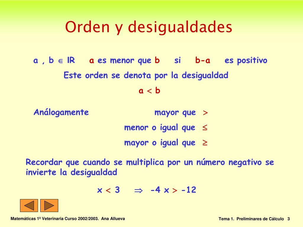 Orden y desigualdades