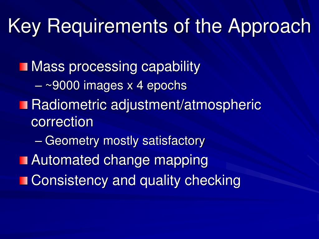 Key Requirements of the Approach