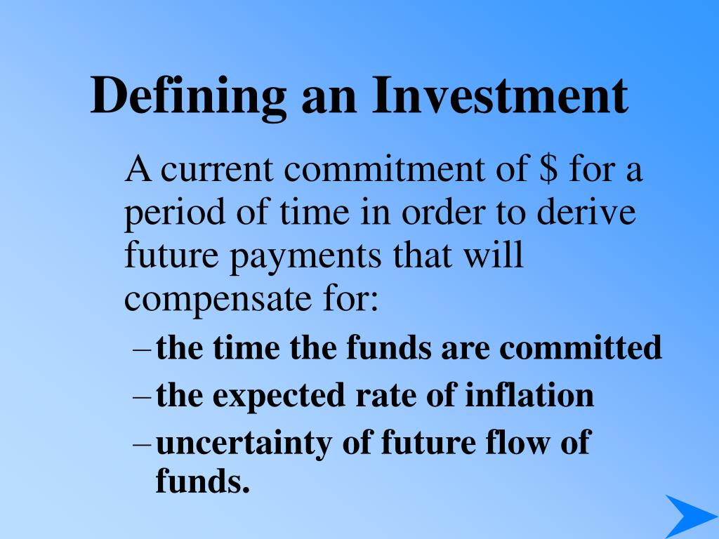 Defining an Investment