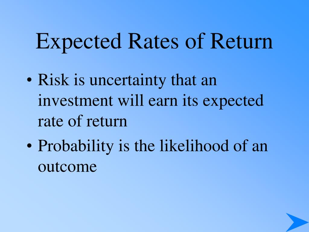 Expected Rates of Return