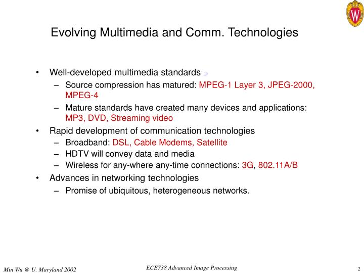 Evolving multimedia and comm technologies