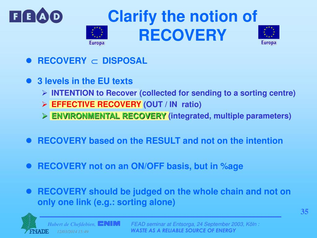 Clarify the notion of RECOVERY