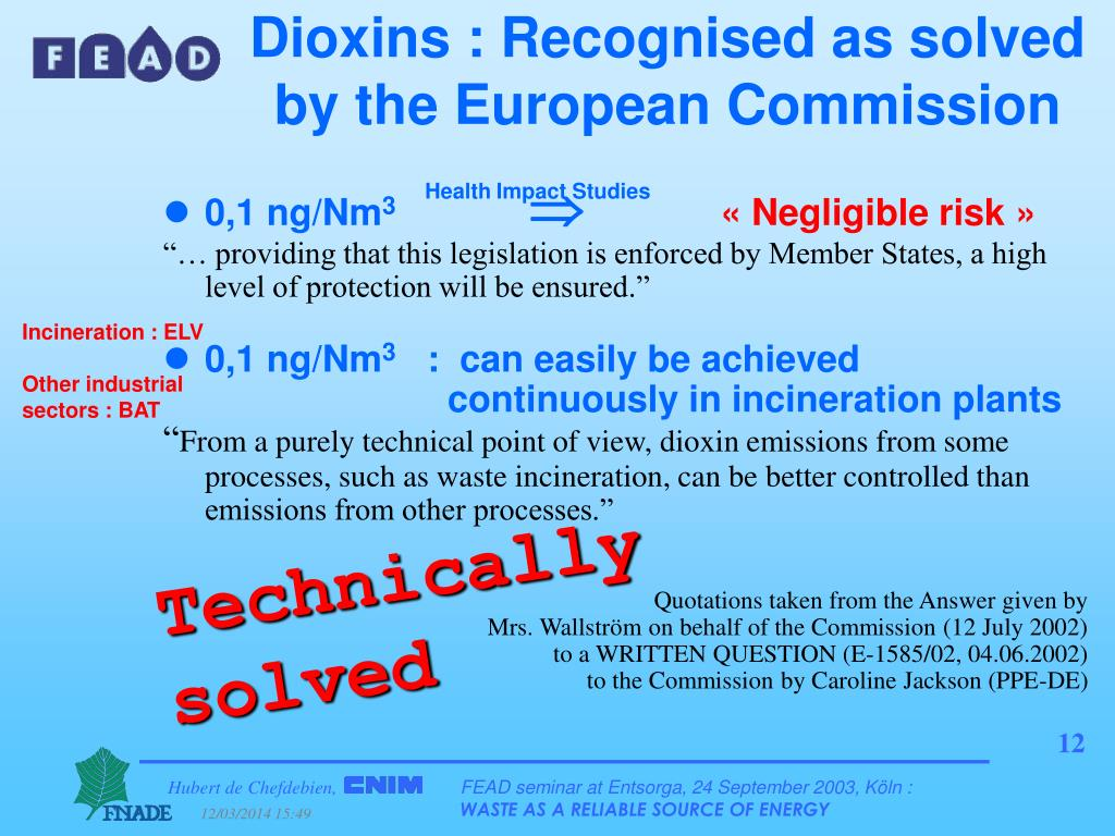 Dioxins : Recognised as solved