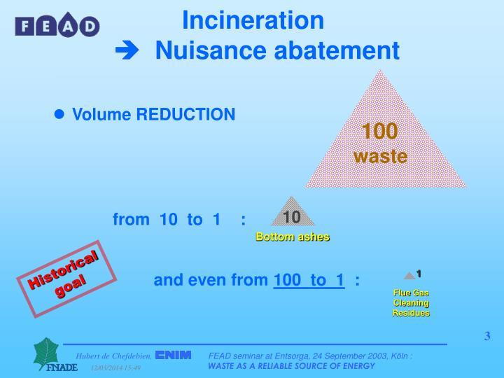 Incineration nuisance abatement