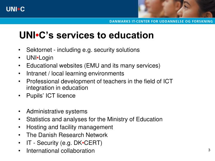 Uni c s services to education
