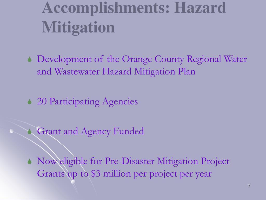 Accomplishments: Hazard Mitigation