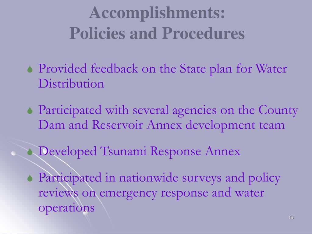 Accomplishments: