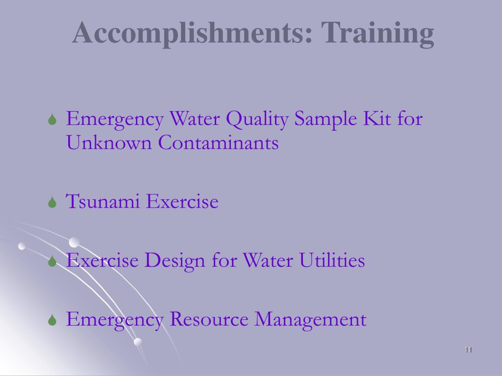 Accomplishments: Training