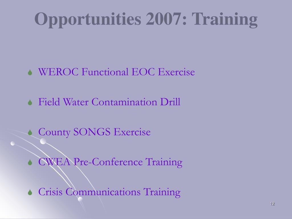 Opportunities 2007: Training
