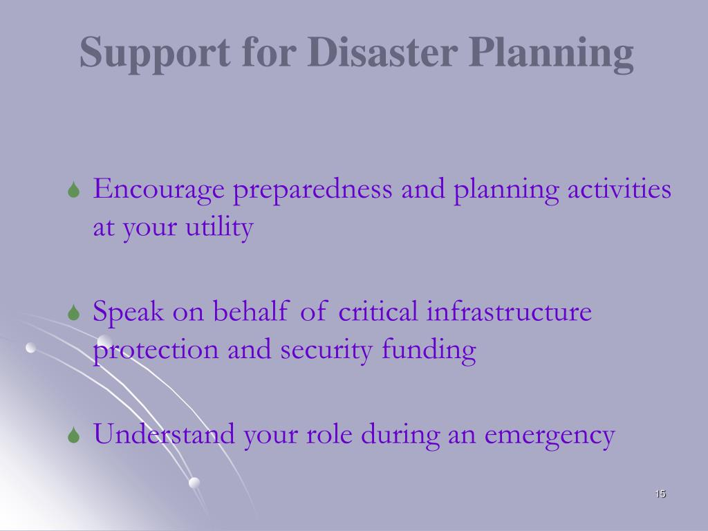 Support for Disaster Planning