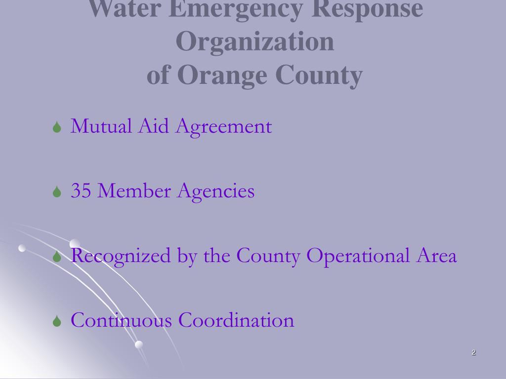 Water Emergency Response Organization