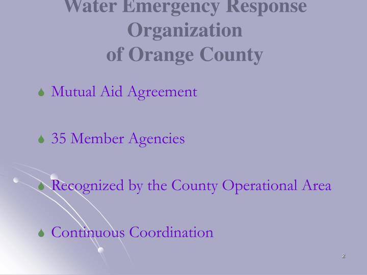Water emergency response organization of orange county