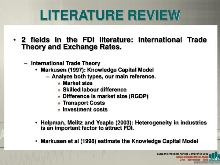review of literature on fdi in Foreign direct investment (fdi) has grown dramatically and is now the largest  a  lucid and thorough review of the relevant literature on policies towards fdi in.
