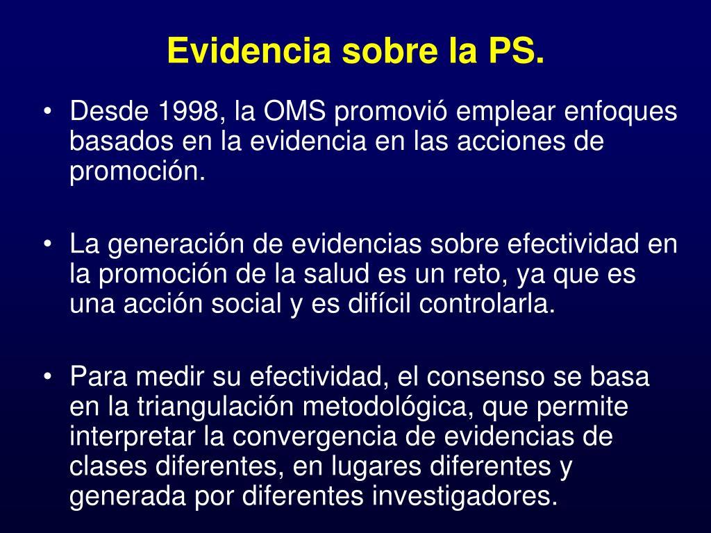 Evidencia sobre la PS.