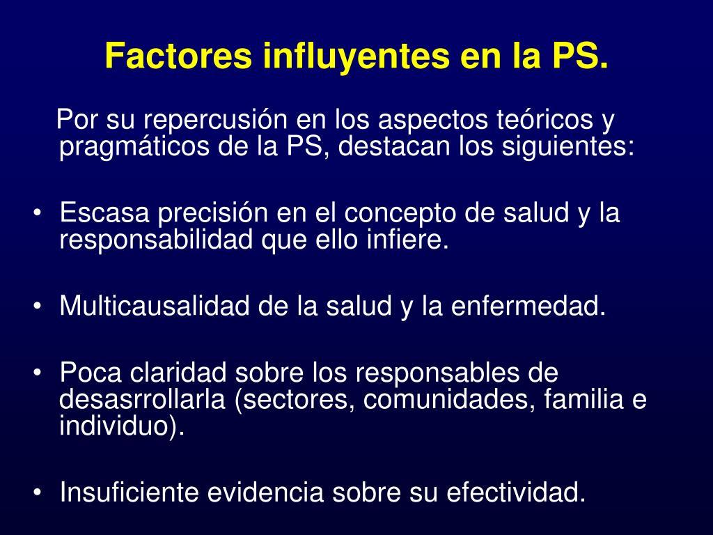 Factores influyentes en la PS.