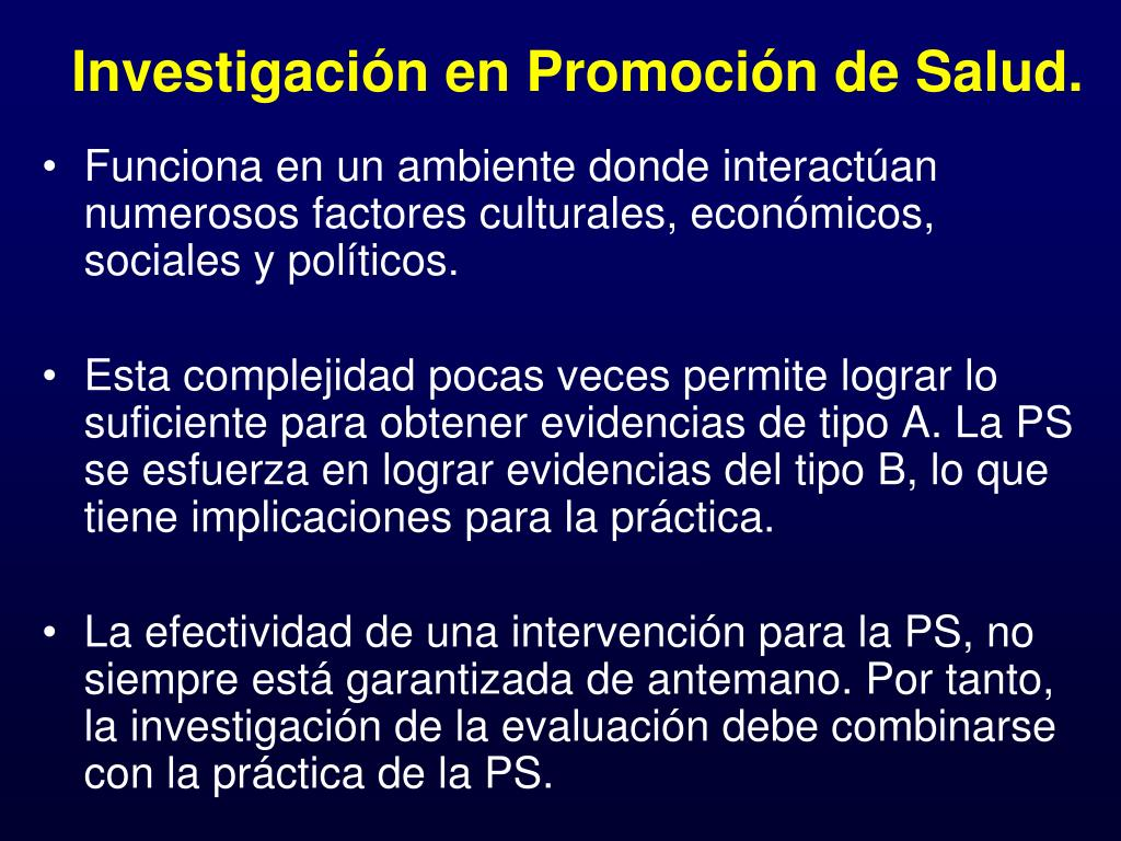 Investigación en Promoción de Salud.