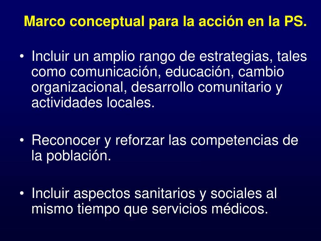 Marco conceptual para la acción en la PS.